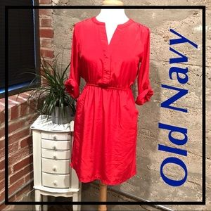 Old Navy Red 3/4 Sleeve Dress